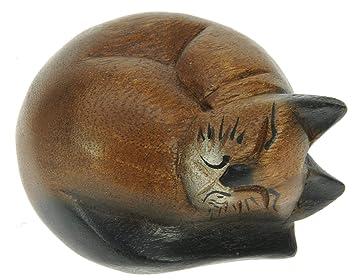 Namesakes Gato dormido - tallado a mano en madera - figura ...