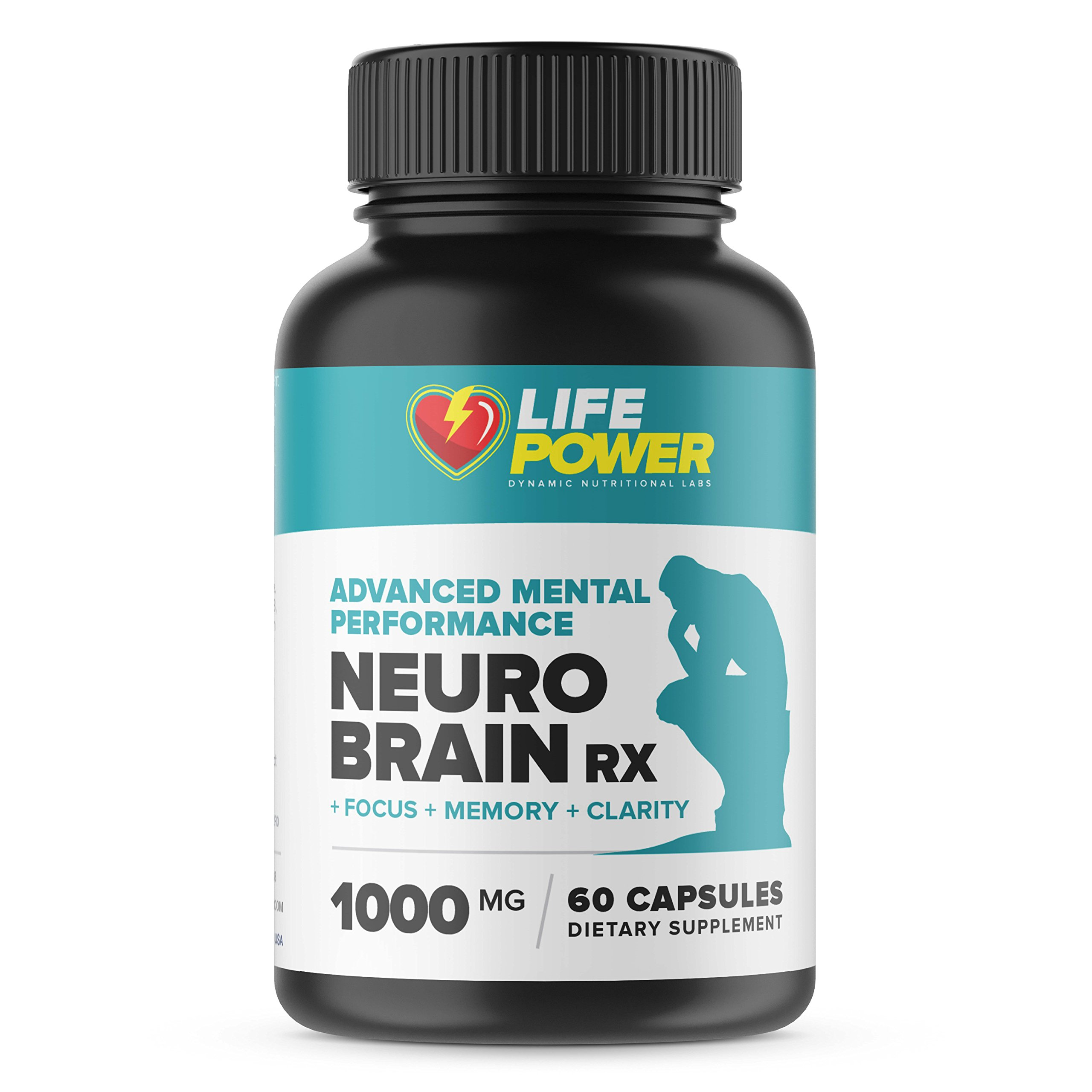 NEURO BRAIN RX- Brain Booster for Memory, Focus & Mental Clarity. 40+ Vitamins DMAE Herbal Nootropic Promotes Superior Brain Function in Men & Women. 60 Capsules.