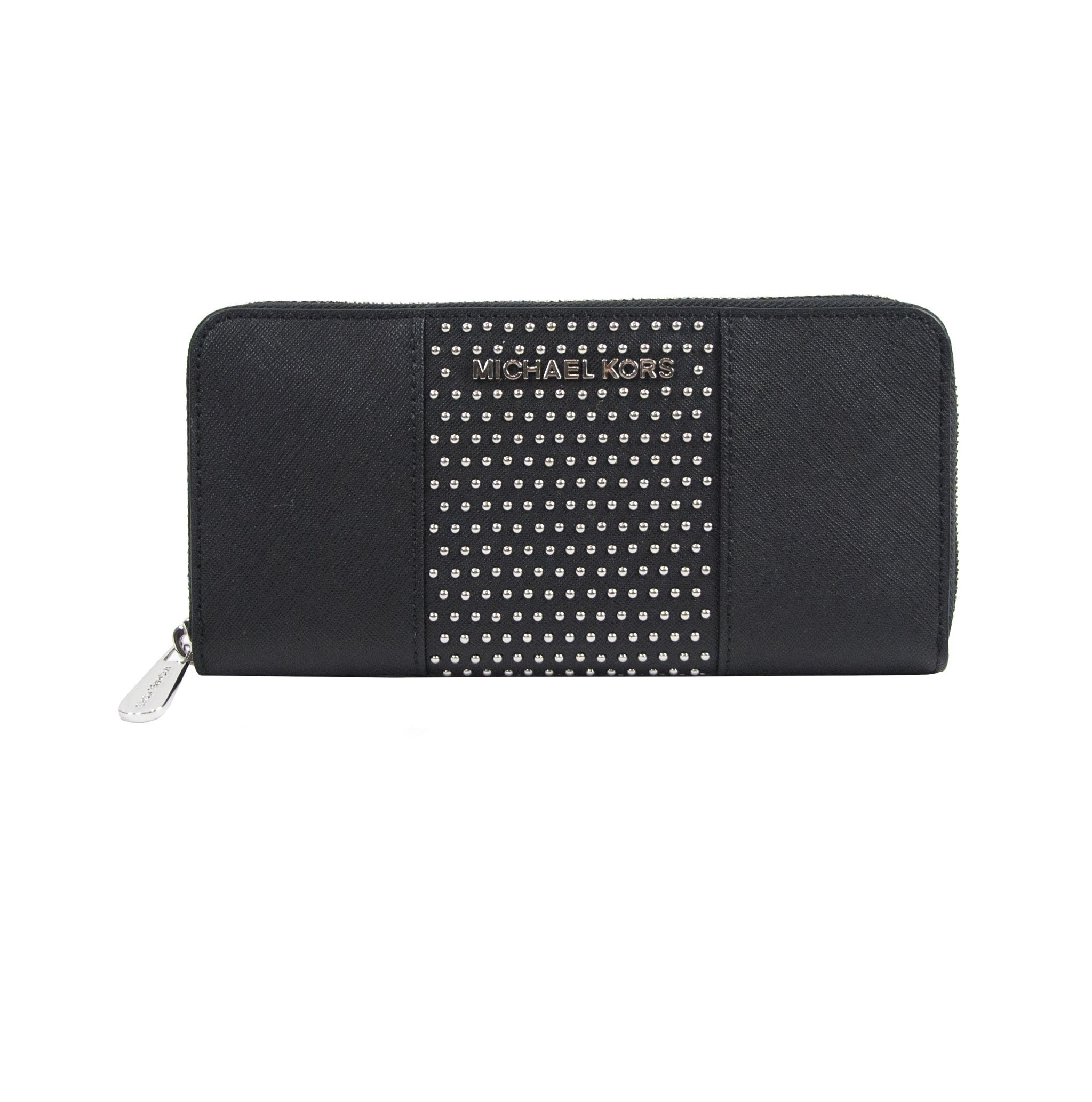 Michael Kors Black Saffiano Leather Microstud Travel Wallet