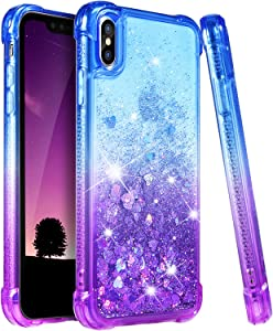 Ruky iPhone Xs Max Case, iPhone Xs Max Glitter Case, Gradient Quicksand Series Girls Women TPU Bumper Cushion Reinforced Corners Protective Liquid Case for iPhone Xs Max 6.5 inches 2018 (Blue Purple)