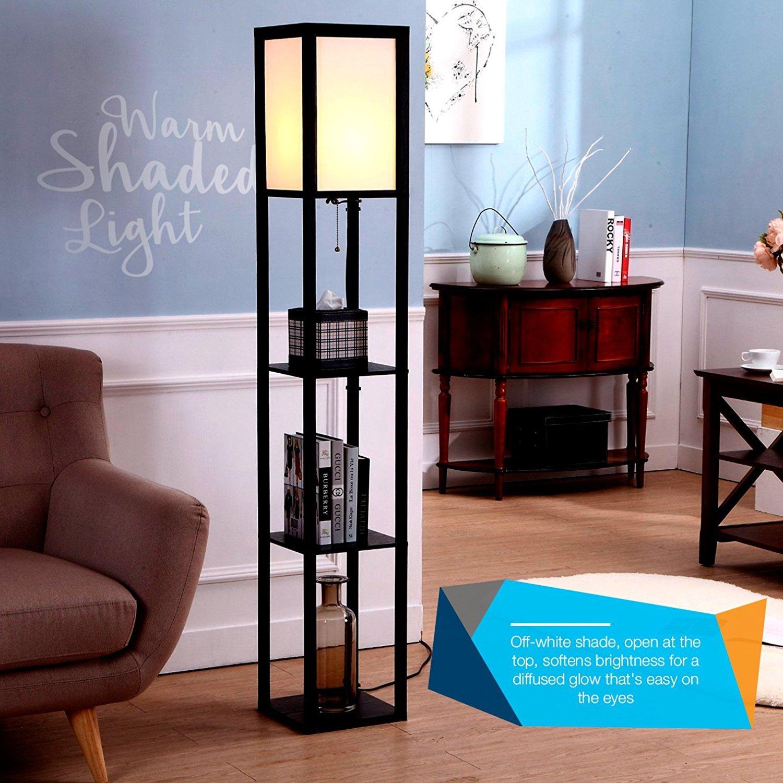 led shelf floor lamp standing lamp modern with open display shelves black 854403007049 ebay. Black Bedroom Furniture Sets. Home Design Ideas