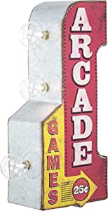 """American Art Decor Vintage Arcade Games Mini LED Marquee Arrow Sign Wall Decor for Man Cave, Bar, Garage, Game Room – Battery Operated (12"""" x 5.25"""")"""