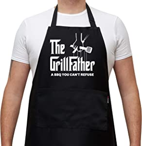 Savvy Designs Aprons for Men - Adjustable Black Apron with Pockets, The Grill Father, A BBQ You Can't Refuse - Unique Christmas & Grilling Gifts