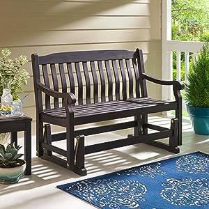 Patio Glider Bench 4 ft Wooden Rocker Loveseat Porch Swing Outdoor Furniture Dark Brown