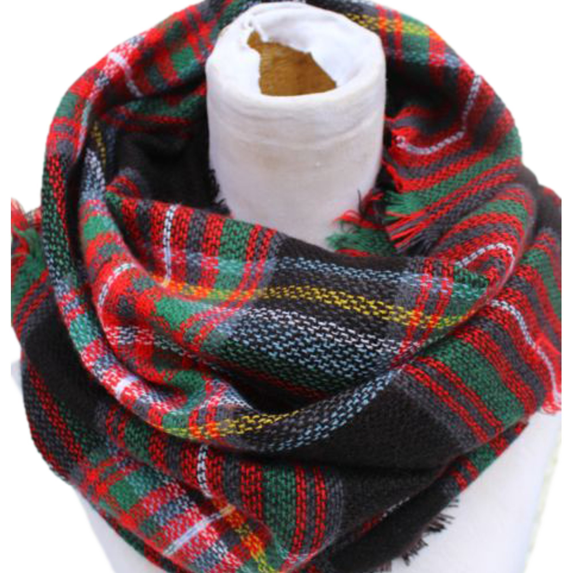 Epic Brand Infinity Scarf Collection for Men and Women   Comfortable Plaid Tartan Cashmere Blanket Circle Winter Scarves (Plaid Navy Blue/Red)