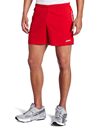 Amazon.com : ASICS Men's Interval Short, Red/White, Small ...