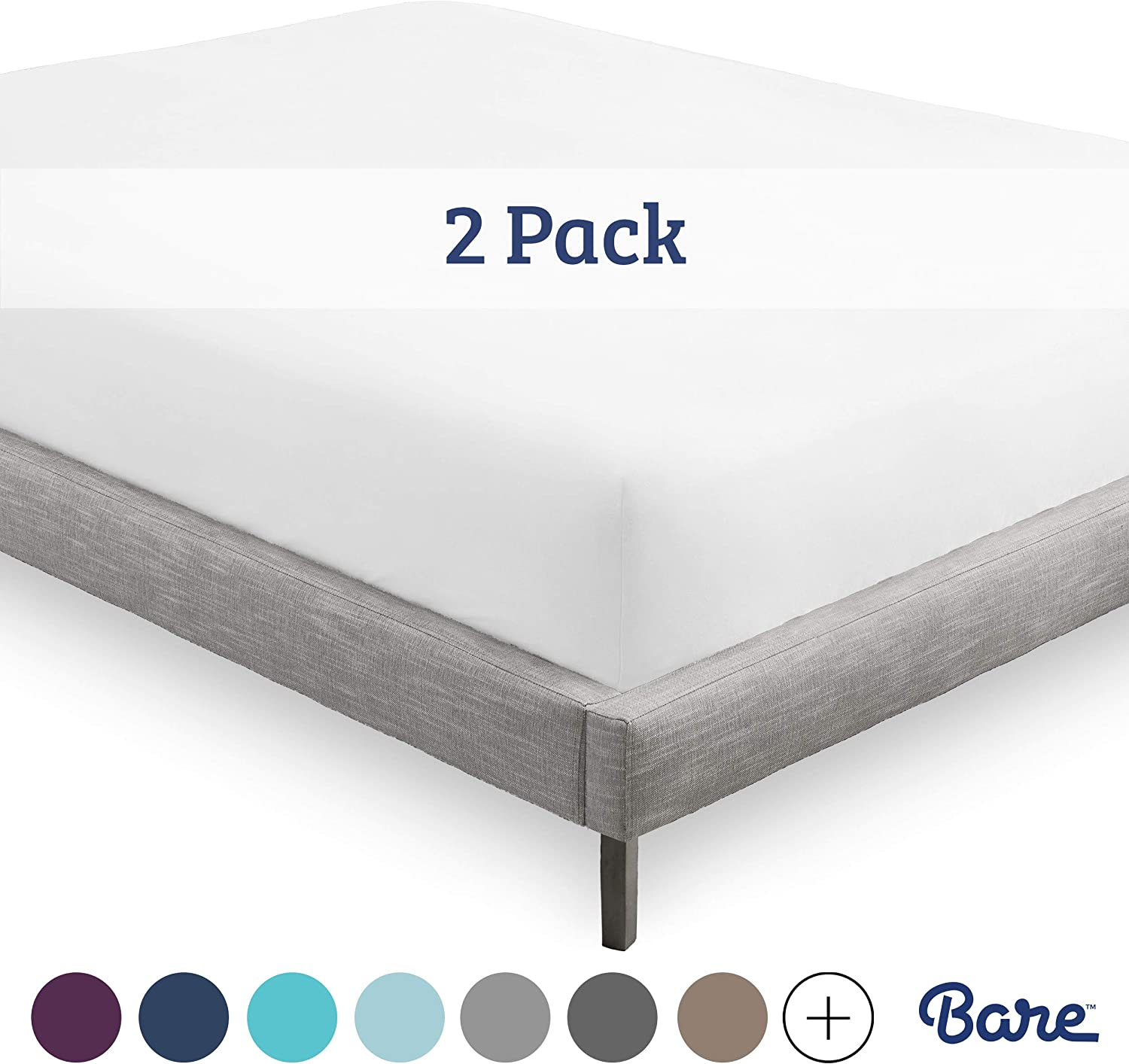 Bare Home 2-Pack Kids Fitted Bottom Sheets Twin - Premium 1800 Ultra-Soft Wrinkle Resistant Microfiber - Hypoallergenic - Deep Pocket (Twin, White)