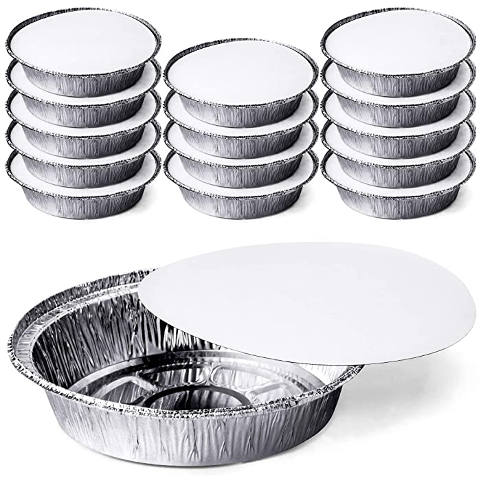 DecorRack Round 7 Inch Aluminum Pans with Flat Board Lid, Heavy Duty Tin Foil Pans, Perfect for Reheating, Baking, Roasting, Cooking, Take Out, to-Go Containers, Disposable (Pack of 14)