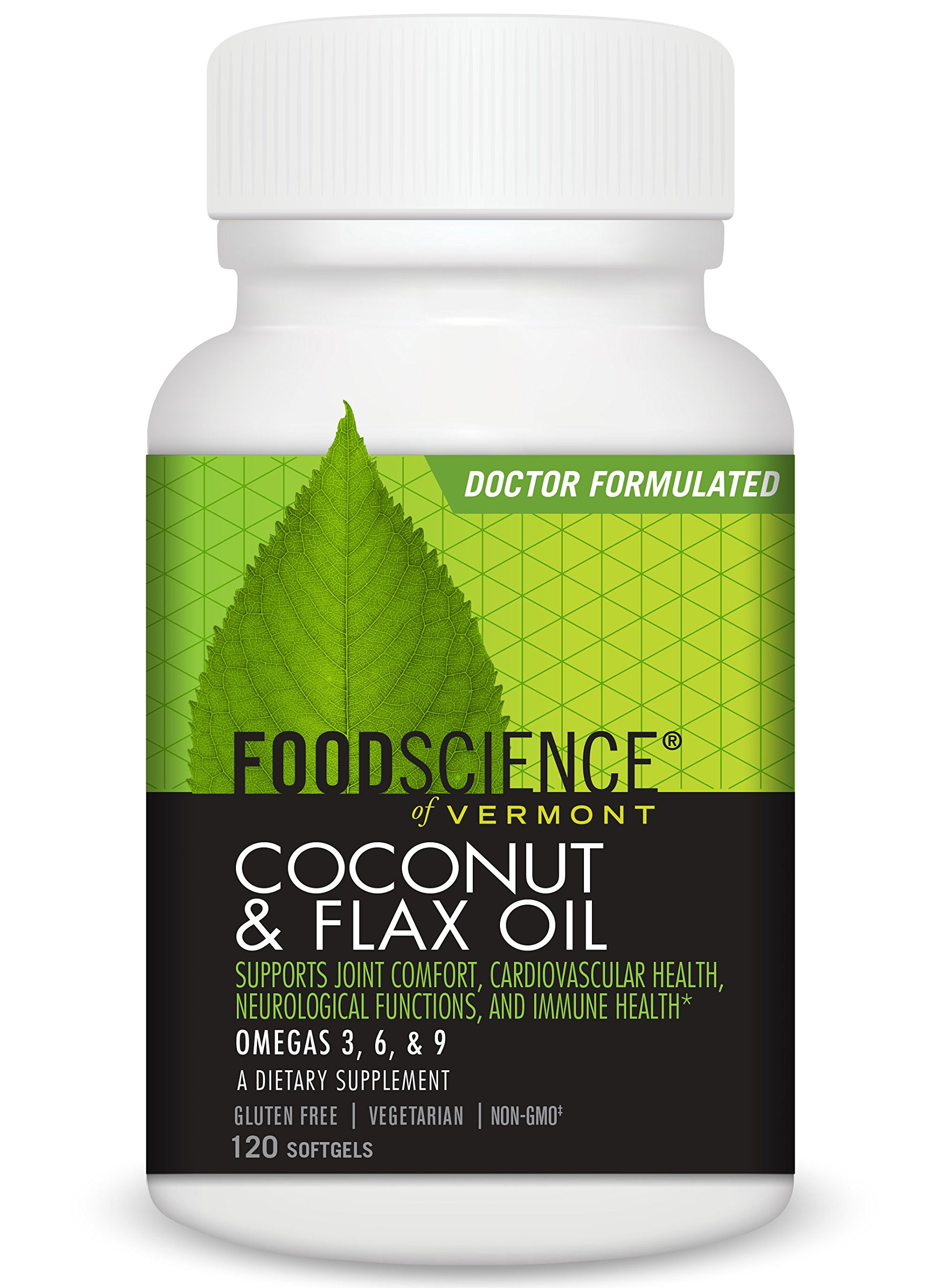 Food Science of Vermont Coconut and Flax Oil Supplement, 120 Count