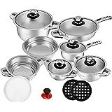 Velaze Pot & Pan Sets, Series Haru, 16-Piece Stainless Steel Cookware Set, Induction, Includes Saucepan, Saucepan, Pan, Salad Bowl, Steaming Insert (Set of 16)