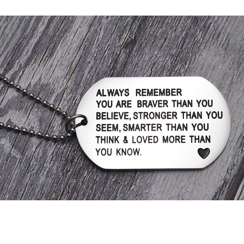 Melix Home Collier en Acier Inoxydable avec Pendentif /« Always Remember You are Braver Than You Believe /»