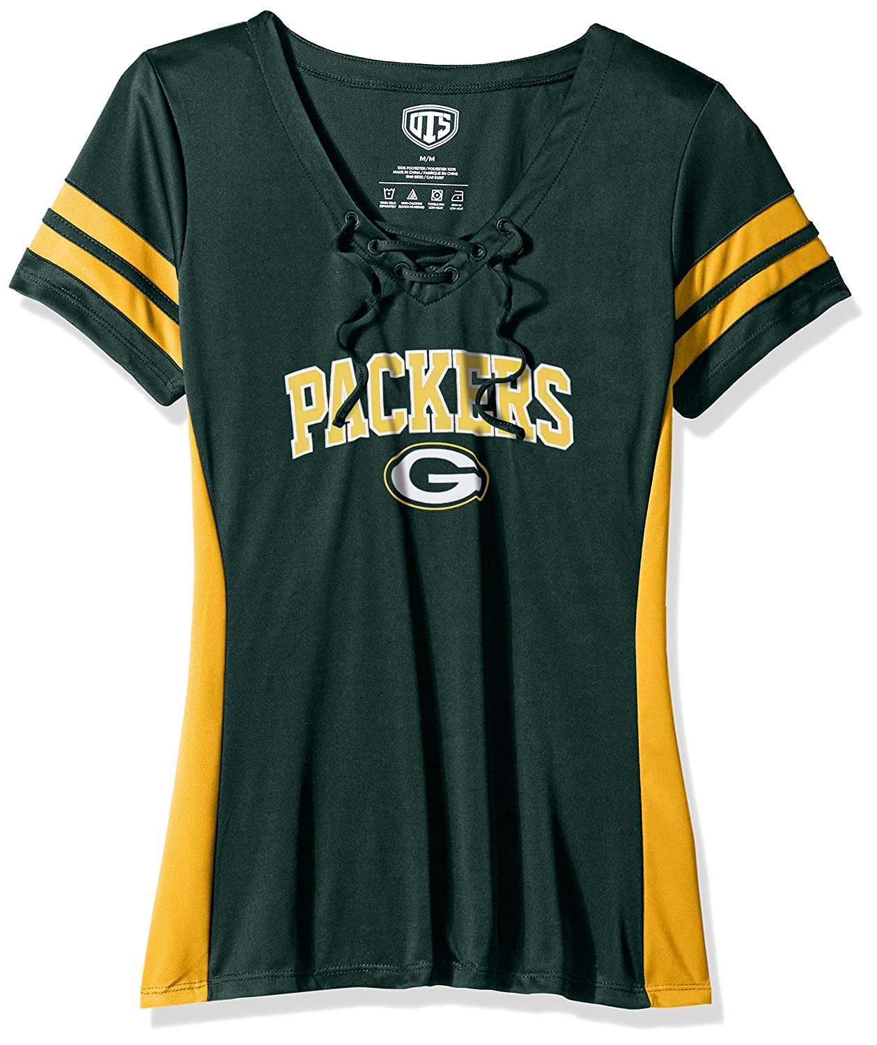 NFL Womens OTS Poly Lace Up V-Neck Tee