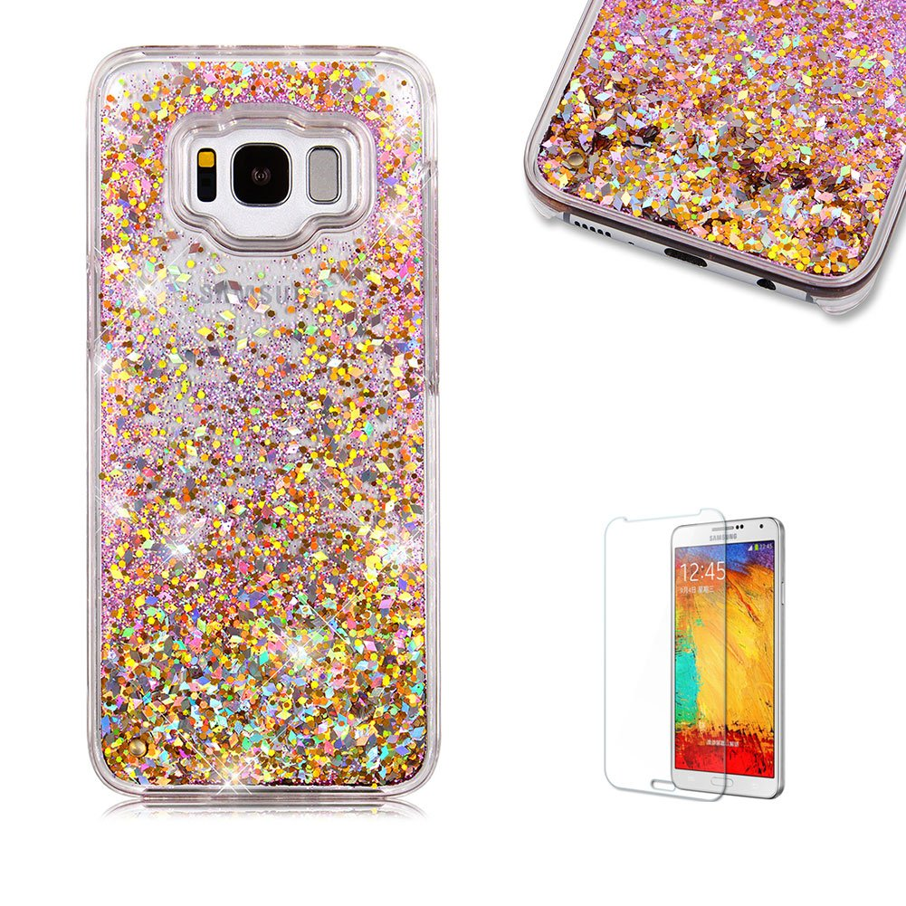 For Galaxy S8 Case, Samsung Galaxy S8 Glitter Case, Funyye 3D Creative Floating Water Liquid Small Love Hearts Design Luxury Sparkly Bling Glitter Back Hard Shell Protective Case Cover With Soft TPU Bumper Samsung Galaxy S8-Blue FUNYYE0026551