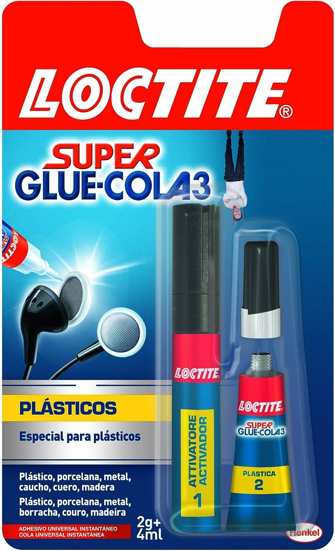 Loctite Super Glue-3, adhesivo instantáneo plasticos dificiles, 1 x 2gr+4ml