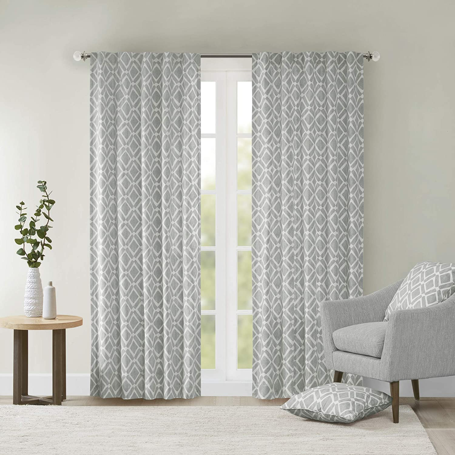Grey Curtains For Living room , Modern Contemporary Fabric Window Curtains  For Bedroom , Delray Diamond Print-Rod Pocket Modern Window Curtains ,