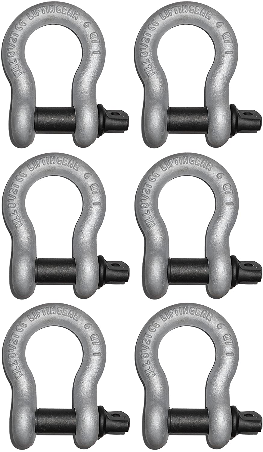 (6 Pack) LiftinGear Tested 1 Ton Galvanised Screw Pin Lifting Towing Alloy Bow Shackle 4x4 Offroad Recovery CE SafetyLiftinGear