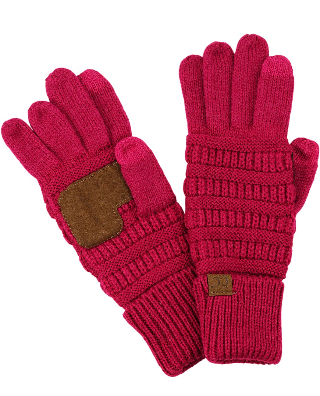 C.C Unisex Cable Knit Winter Warm Anti-Slip Touchscreen Texting Gloves, Hot Pink