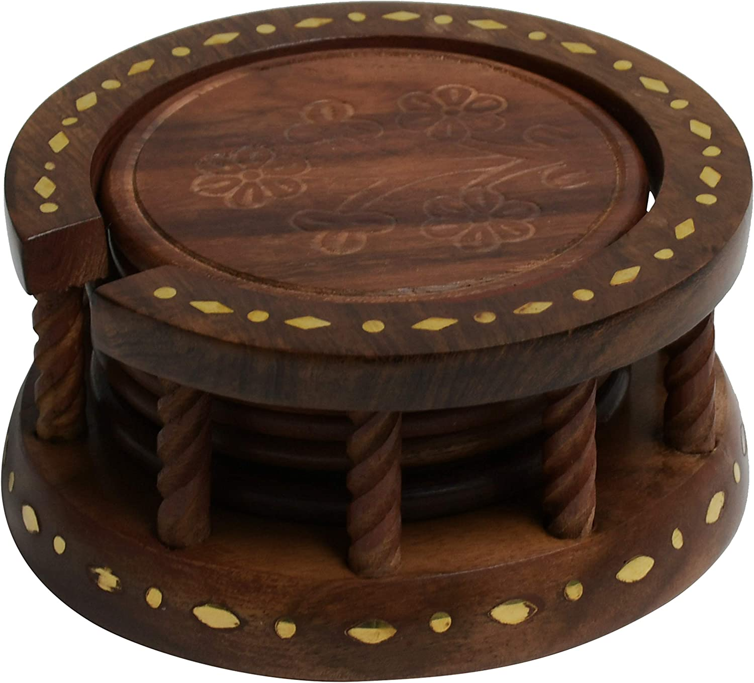 ARIJA Round Wooden Drink Coasters Set - 100% Natural Acacia Wood with Elegant Carved Style, Easy to Clean- 6-Piece Coasters Set with Twisted Rod Design Holder for Home, Office & Kitchen Table Décor