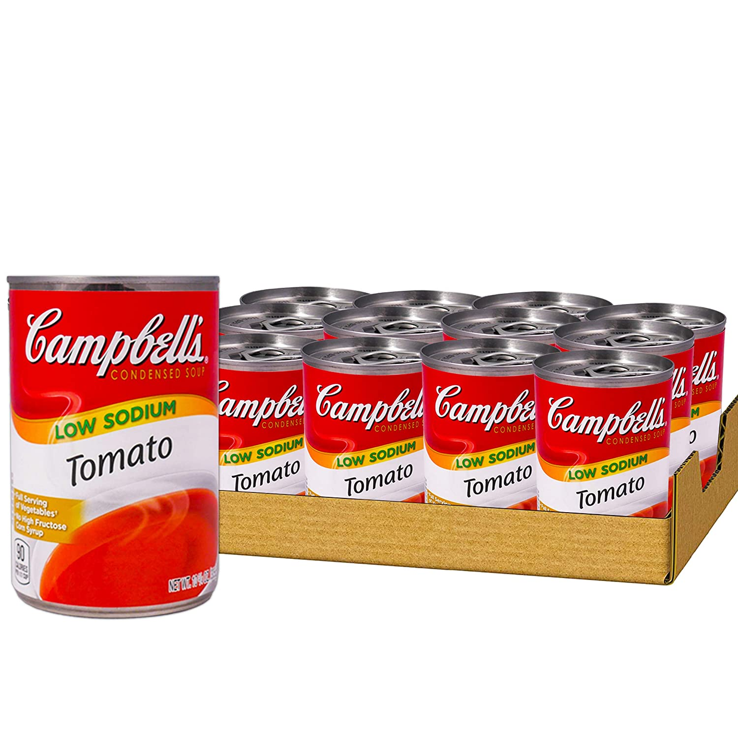 Campbell's Condensed Tomato Soup Low Sodium, 10.75 oz Can, Pack of 12
