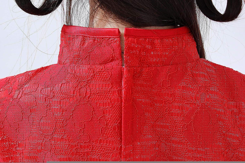 Girls Chinese Style Peacock Embroidery Dress New Year Cheongsam Stitching Mesh Princess Skirt Tang Suit