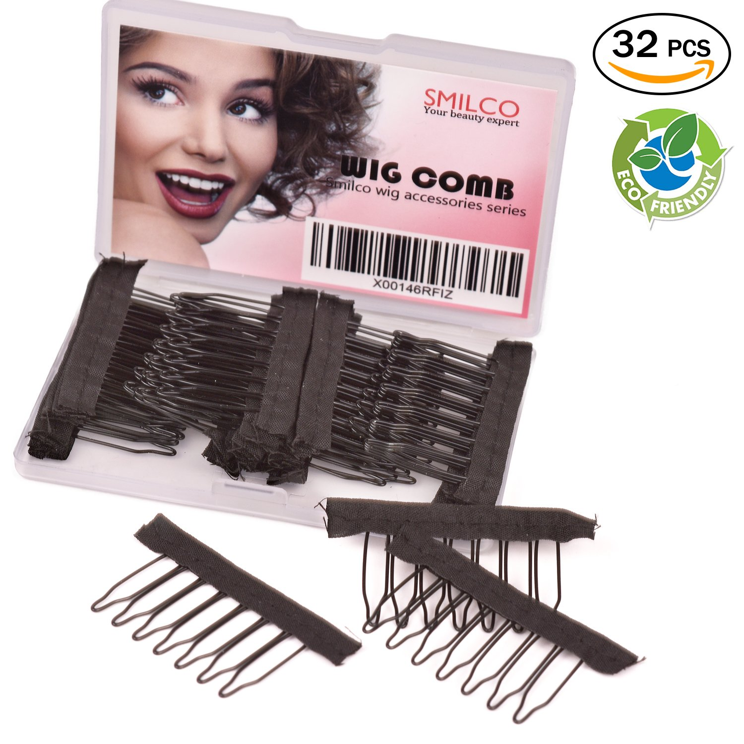 Smilco Wig Clips Pack of 32PCS Metal Wig Combs for Wig Caps Making Wigs Black (32 pieces / pack) QDSK