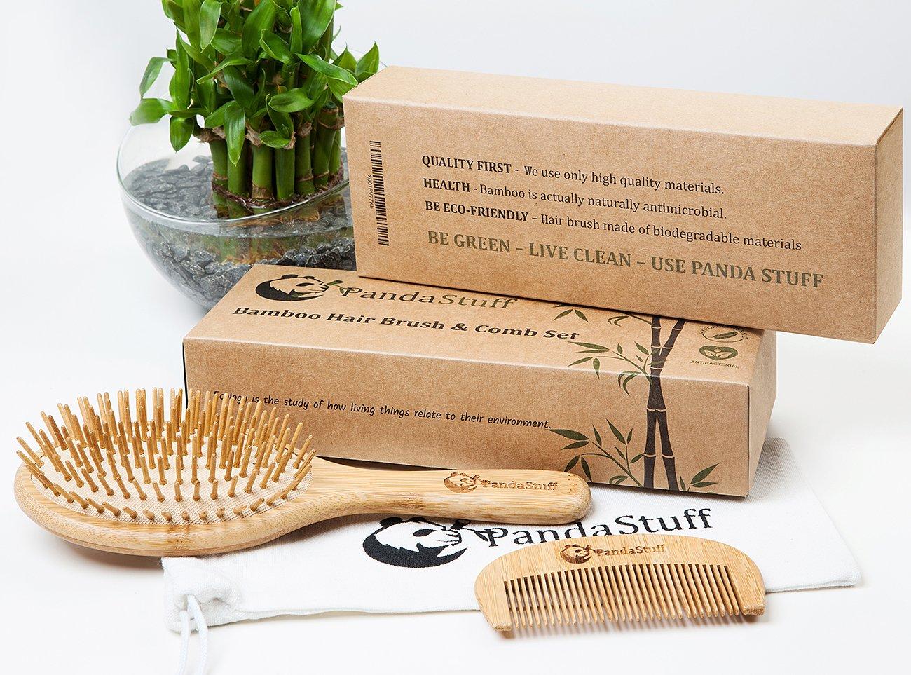 wooden hair brush organic bamboo hair brush and comb set for women