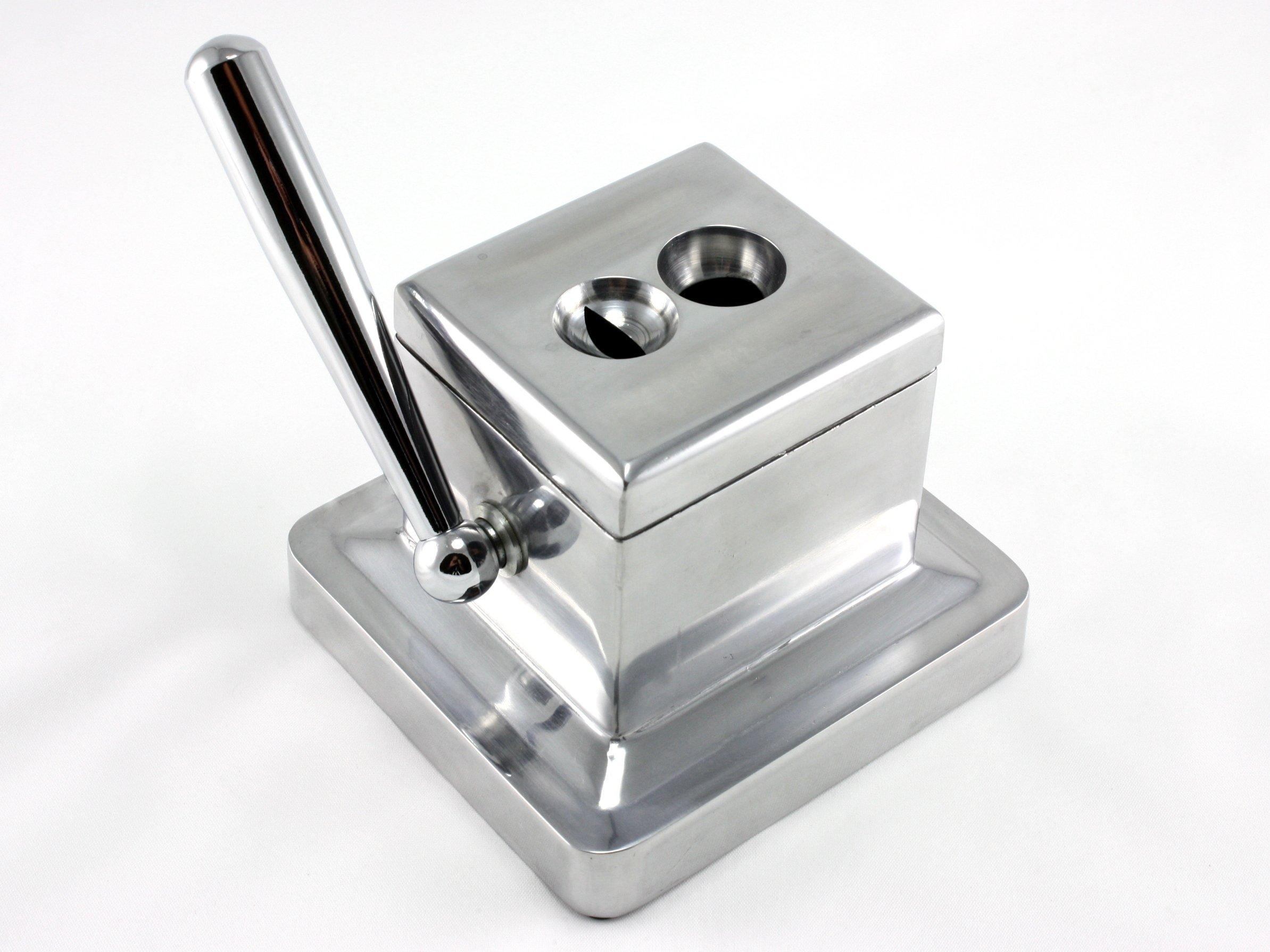 Scorpion Table Top Desk Cigar Cutter Guillotine & V Cut - Silver