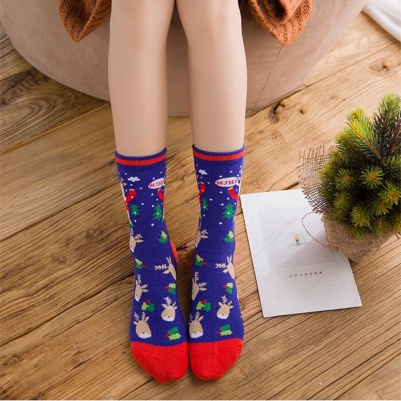 CHIC DIARY 5 Pairs Women Girls Christmas Holiday Stocking Socks With Gift Box (Gift box #03(01&02))