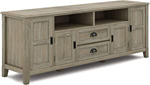 SIMPLIHOME Burlington SOLID WOOD Universal TV Media Stand, 72 inch Wide, Traditional,Entertainment Center, Storage Shelves and Cabinets, for Flat Screen TVs up to 80