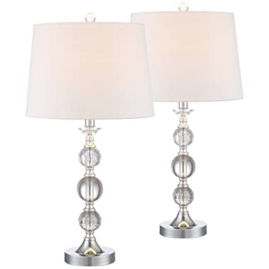 Solange Modern Table Lamps Set of 2 Stacked Crystal Ball Silver White Drum Shade for Living Room Family Bedroom Bedside - 360 Lighting
