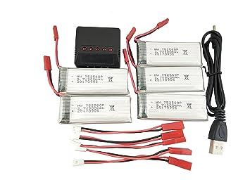 Fytoo 5pcs 3.7V 900mah Lipo Batería para 8807 8807W Fordable RC ...