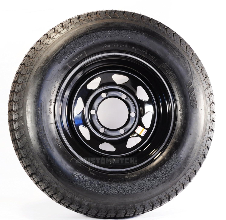 eCustomRim 60242 Trailer Tire & Rim ST225/75R15E 6L 830# 15X6 6-5.5 Spoke Black
