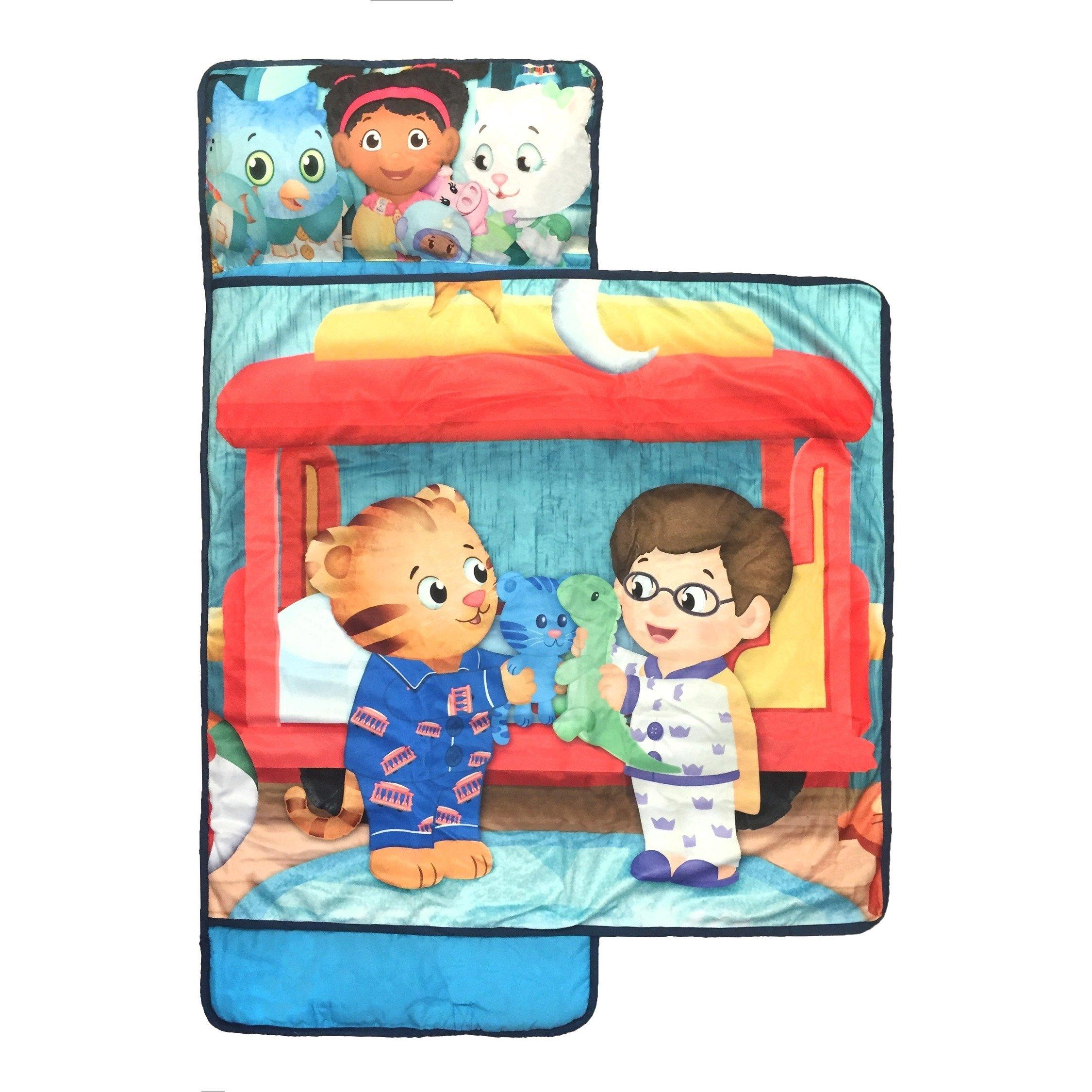 PBS Kids Daniel Tiger Cartoon Nap Sleep Mat, Fun O Owl Prince Wednesday Katerina Kittycat Character Sleeping Pad, Infant Children Sweet Dream Friendly Cartoon Roll Out Travel Bedding, Polyester