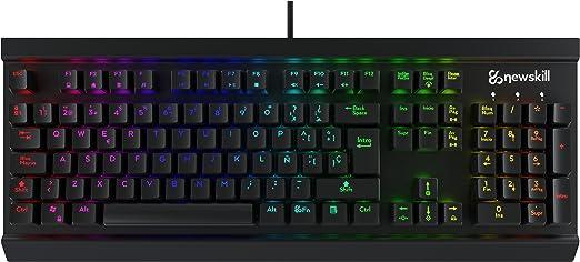 Newskill Thanatos Switch Blue - Teclado mecánico gaming (estructura metálica, efectos RGB), color negro