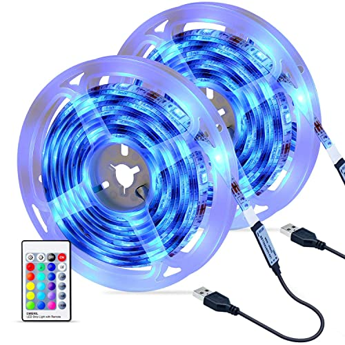 Tiras LED 6M OMERIL Impermeable Tira LED USB con Control Remoto 4 Modos de Brillo y 16 Colores 5050 RGB Tira LED para Habitacion Hogar Cocina Porche Bar Fiesta Boda y Restaurante 2x3M