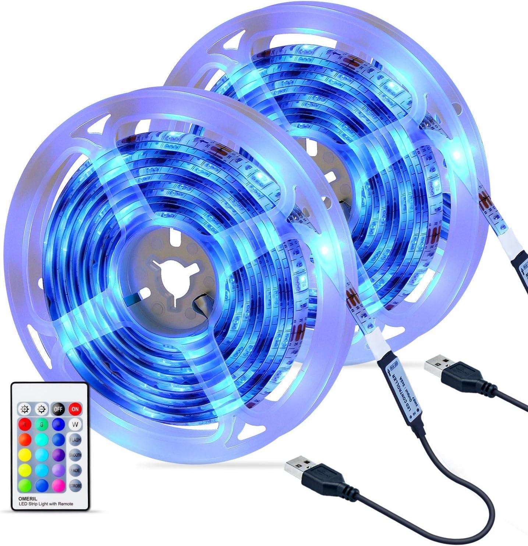 Tiras LED 6M, OMERIL Impermeable Tira LED USB con Control Remoto, 4 Modos de Brillo y 16 Colores, 5050 RGB Tira LED para Habitacion, Hogar, Cocina, Porche, Bar, Fiesta, Boda y Restaurante (2x3M)