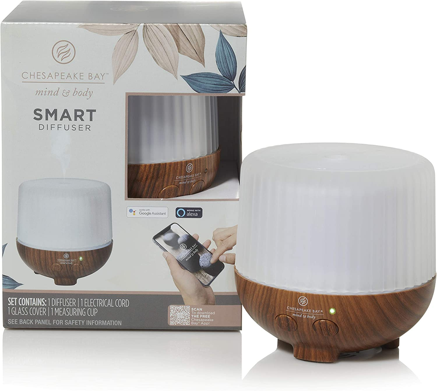 Chesapeake Bay Candle Mind & Body Smart Diffuser, Brown, Works with Alexa