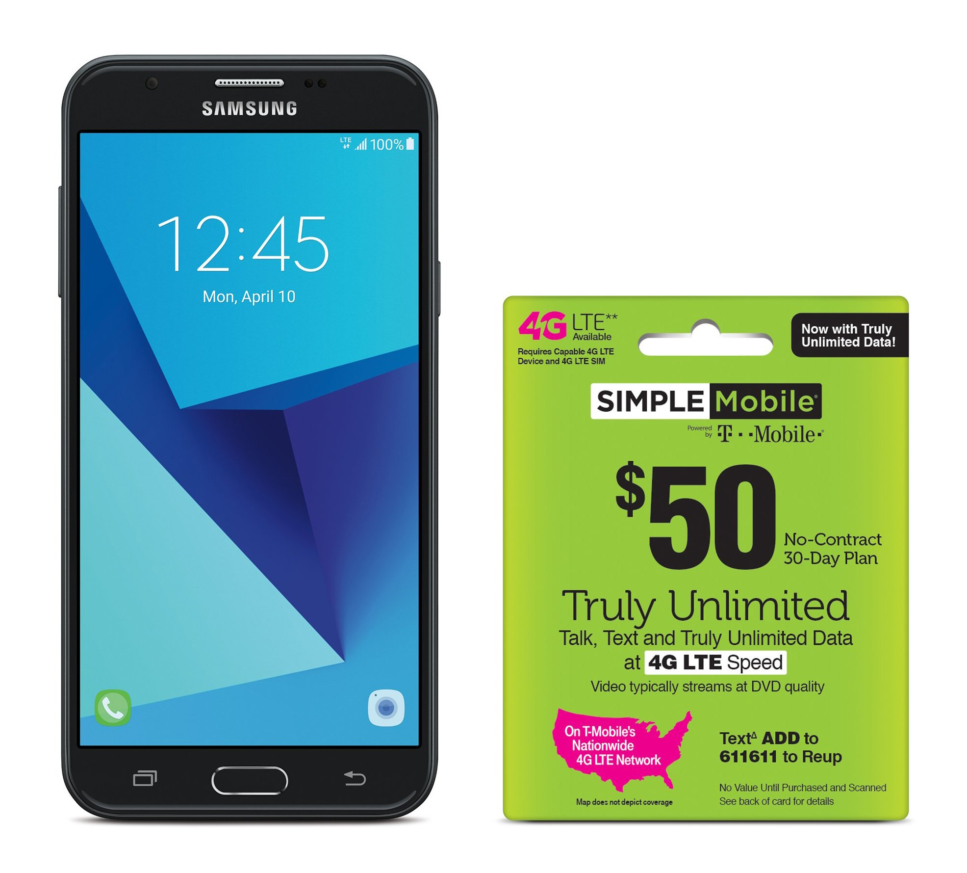 Simple Mobile Samsung Galaxy J7 Sky Pro 4G LTE Prepaid Smartphone with Free $50 Unlimited Bundle by Simple Mobile