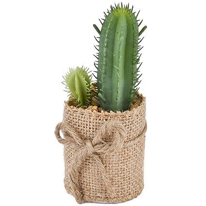 Cactus Decorativo Planta Plástico Pot yute verde 12 x 6 x 6 cm ...