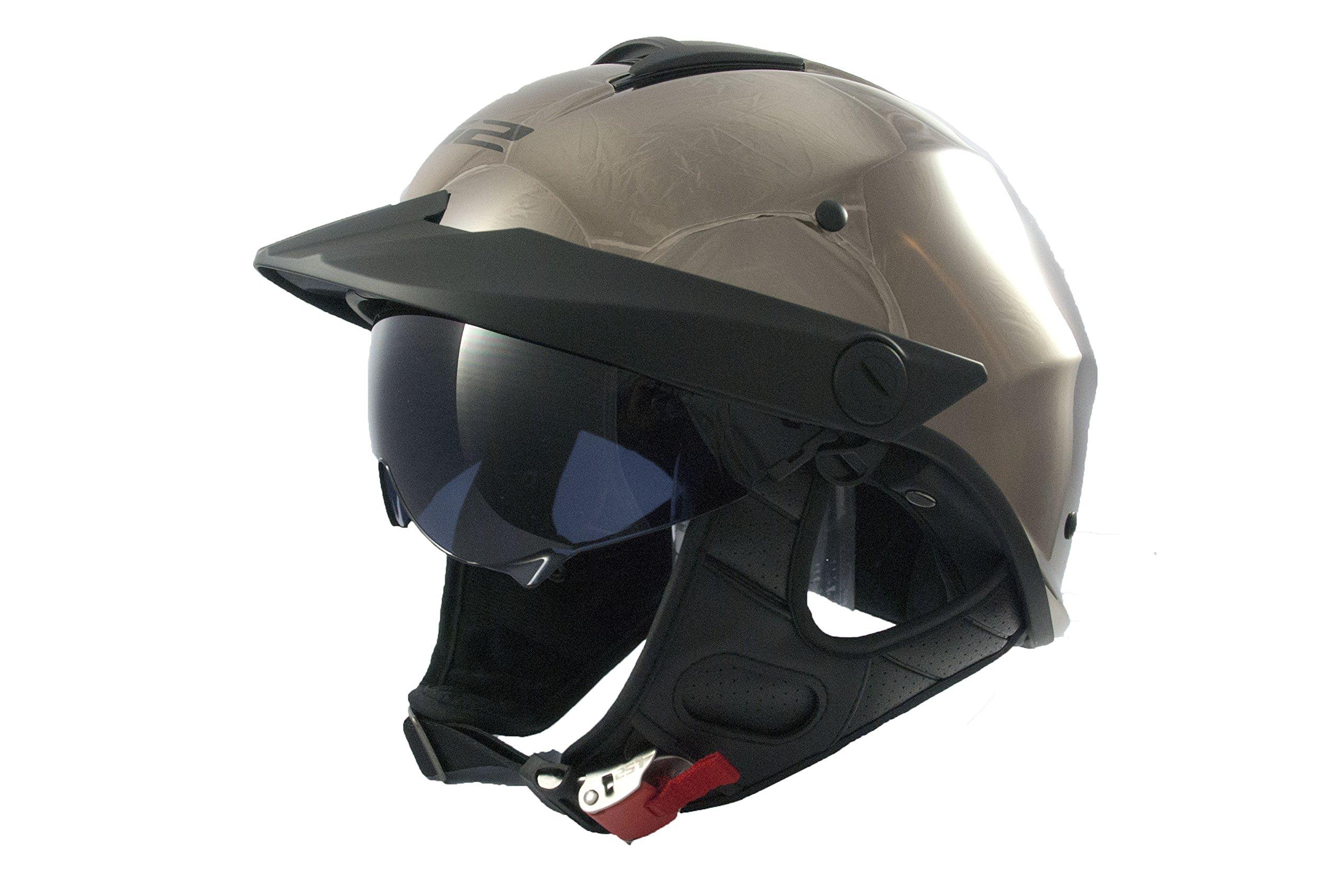LS2 Helmets Rebellion Solid Unisex-Adult Half-Size-Helmet-Style Helmet with Sun Shield (Black Chrome, Large)