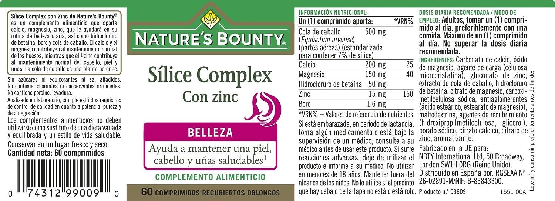 NATUREŽS BOUNTY - SILICE COMPLEX +ZINC 60comp NAT. BOUNTY: Amazon.es: Salud y cuidado personal