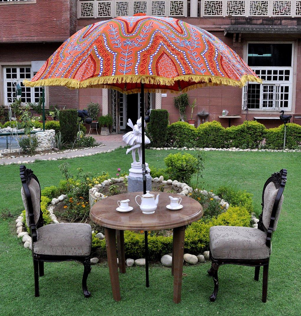 Handmade Decorative Embroidered Garden Sun Umbrella Outdoor