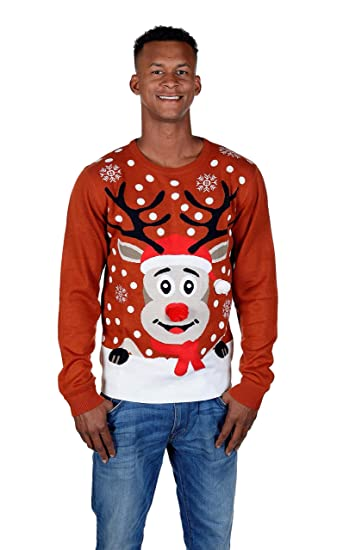 a905437b651a RWB Rudolph The Reindeer Ugly Christmas Sweater Burgundy at Amazon ...