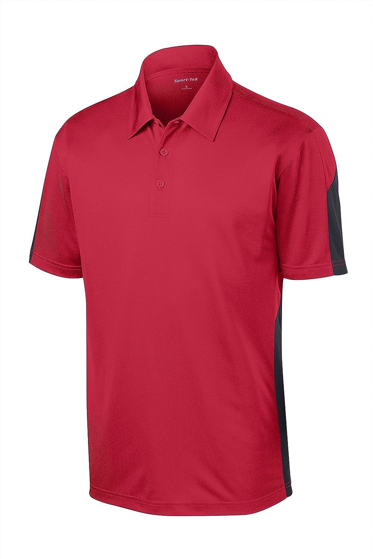 Sport Tek Mens Textured Moisture Wicking Polo Shirt/_Tr Red//Grey/_Large