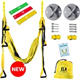 ELA Design Yoga Swing - Yoga Trapeze Home Workout Kit - Yoga Hammock with 3 Resistance Bands (with Ceiling Mounts)