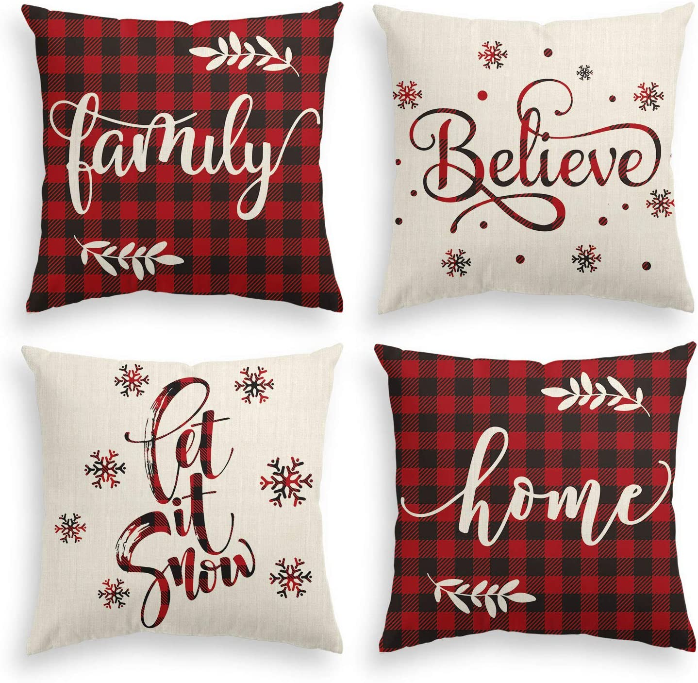 AVOIN Christmas Saying Buffalo Plaid Throw Pillow Cover, 20 x 20 Inch Winter Holiday Farmhouse Cushion Case for Sofa Couch Set of 4