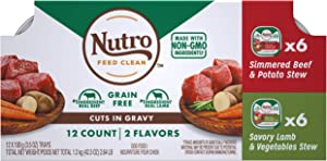 NUTRO Adult High Protein Natural Grain Free Wet Dog Food Cuts in Gravy Simmered Beef & Potato Stew and Savory Lamb & Vegetable Stew Variety Pack, (24) 3.5 oz. Trays