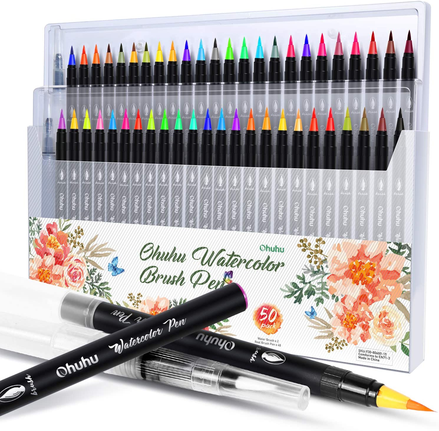 Watercolor Brush Markers Pen, Ohuhu 48 Colors Water Based Drawing Marker Brushes W/A Water Coloring Brush, Water Soluble for Adult Coloring Books Calligraphy Christmas Gifts