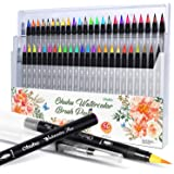 Watercolor Brush Markers Pen, Ohuhu 48 Colors Water Based Drawing Marker Brushes W/A Water Coloring Brush, Water Soluble for Adult Coloring Books Manga Comic Calligraphy, Back to School Art Supplies