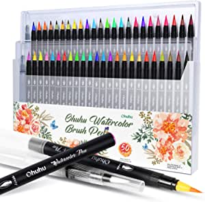 Watercolor Brush Markers Pen, Ohuhu Water Based Drawing Marker Brushes W/A Water Coloring Brush, Water Soluble for Adult Coloring Books Calligraphy (48 Colors)